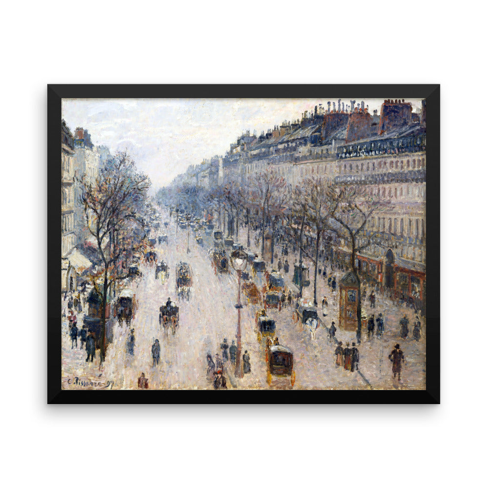 The Boulevard Montmartre on a Winter Morning, Camille Pissarro, Framed Poster