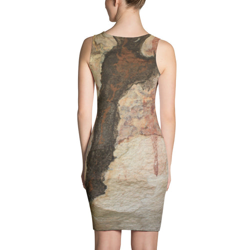 Termite Tunnel over Red Wallaby and Goanna, Rock Painting, Dress