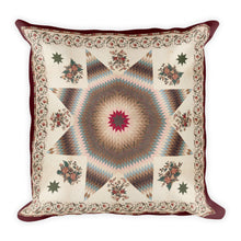 Star of Bethlehem Quilts, Two Brown-Toned Patterns, Square Pillow