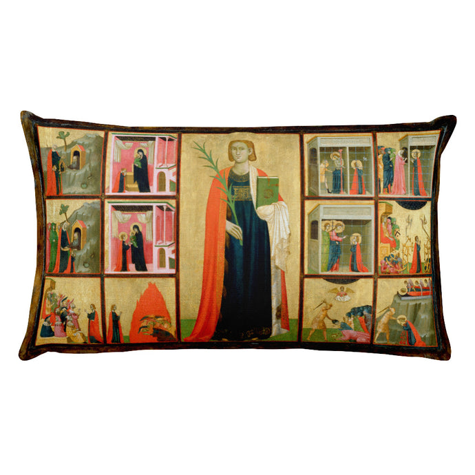 Saint Catherine of Alexandria and Twelve Scenes from Her Life, Donato d'Arezzo and Gregorio d'Arezzo, Rectangular Pillow