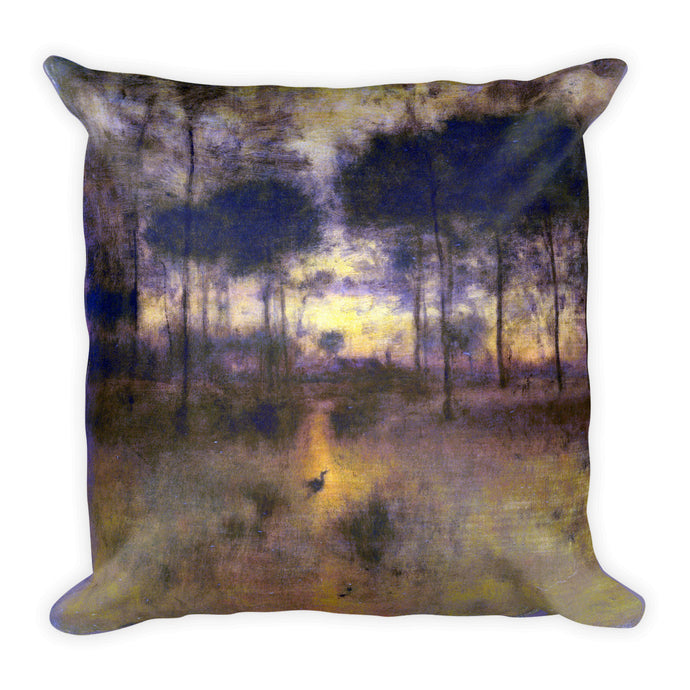 The Home of the Heron, George Inness, Square Pillow