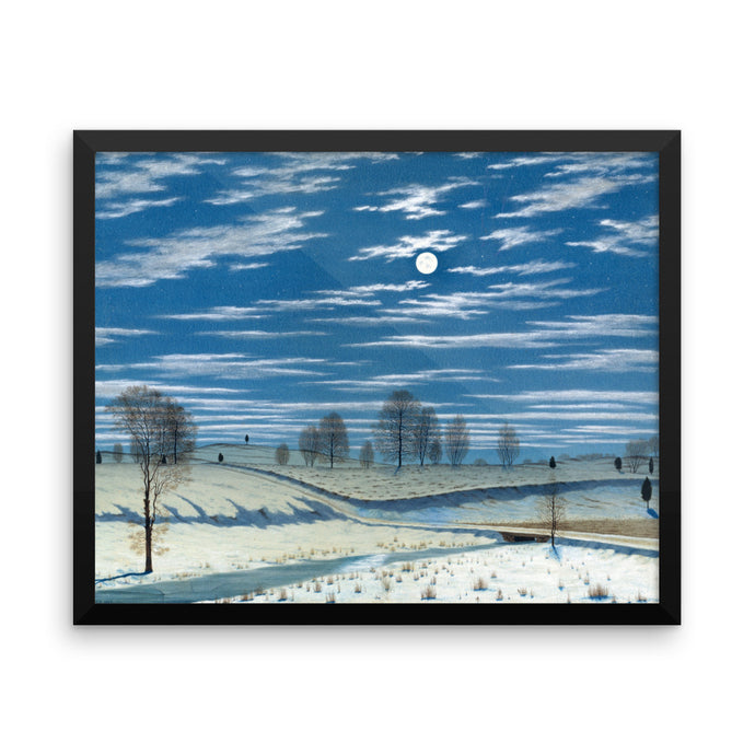 Winter Scene in Moonlight, Henry Farrer, Framed Poster