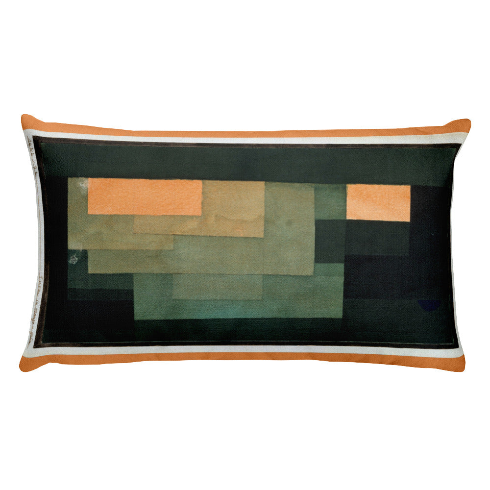 Tower in Orange and Green, Paul Klee, Rectangular Pillow
