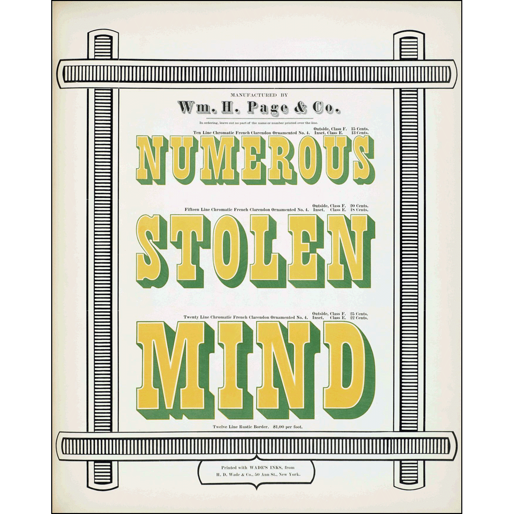 Numerous Stolen Mind, William H. Page & Co., Poster
