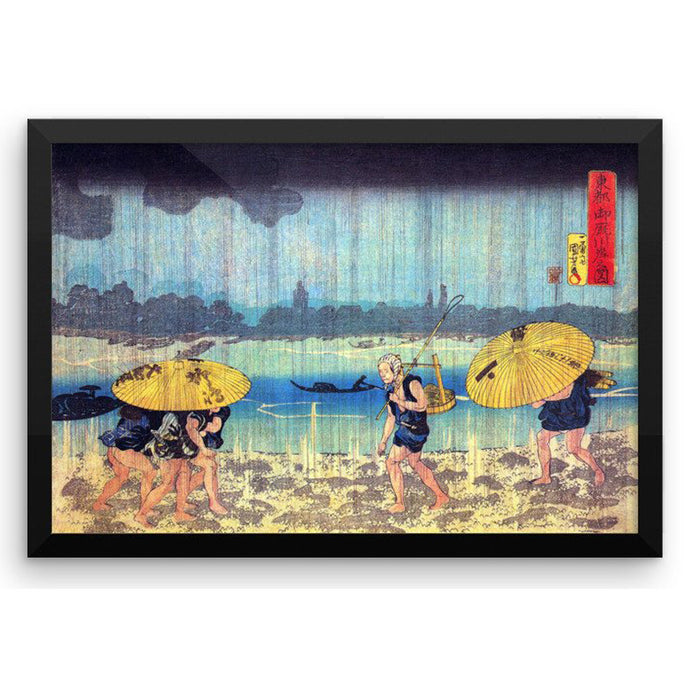 A Rainy Day by the Shore of the Sumida River, Utagawa Kuniyoshi, Framed Poster