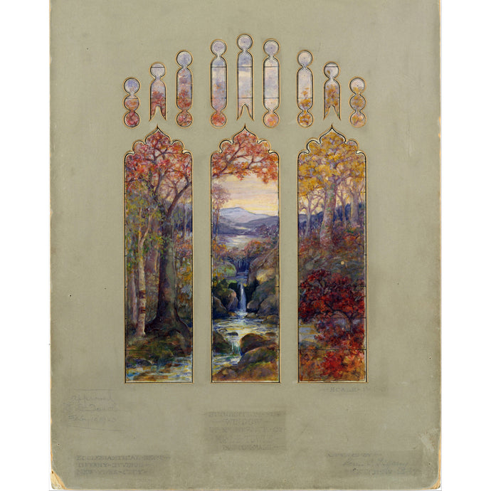 Design for Autumn Landscape Window, Louis Comfort Tiffany/Agnes F. Northrop, Poster