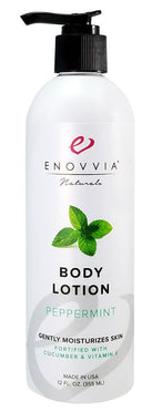 Enovvia Natural Body Lotion Peppermint - 12 oz - Front