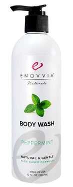 Enovvia Natural Peppermint Body Wash - 12 oz - Front