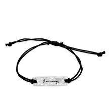Load image into Gallery viewer, i am enough -  small intentions silver bracelet with waxed cord - daVoria jewelry aware - little inspirations necklace -  silver bracelet-  we make personalized silver jewellerey