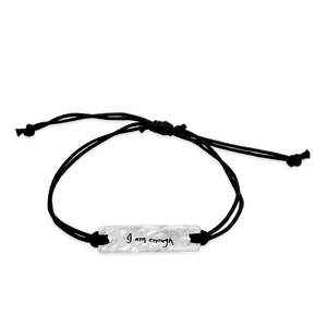 i am enough -  small intentions silver bracelet with waxed cord - daVoria jewelry aware - little inspirations necklace -  silver bracelet-  we make personalized silver jewellerey