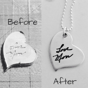 double-sided personalized silver tags with a signature or a drawing