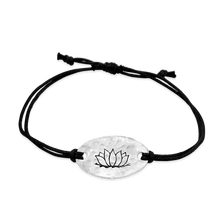 Load image into Gallery viewer, lotus -  small intentions silver bracelet with waxed cord - daVoria jewelry aware - little inspirations necklace -  silver bracelet-  we make personalized silver jewellerey