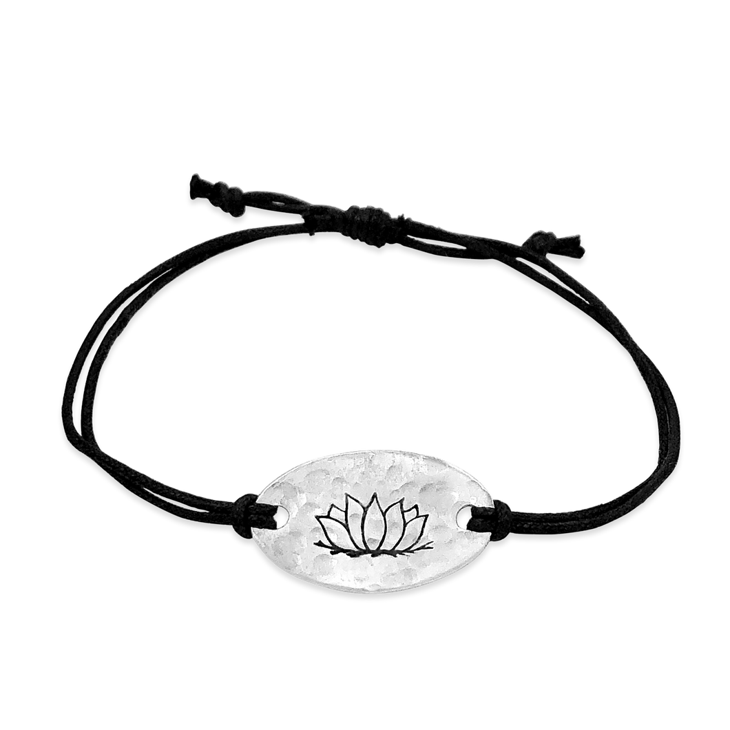 lotus -  small intentions silver bracelet with waxed cord - daVoria jewelry aware - little inspirations necklace -  silver bracelet-  we make personalized silver jewellerey