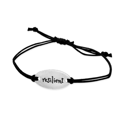 resilient- small intentions silver bracelet with waxed cord - daVoria jewelry aware - little inspirations necklace -  silver bracelet-  we make personalized silver jewellerey