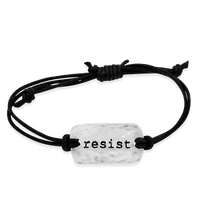 Load image into Gallery viewer, resist- small intentions silver bracelet with waxed cord - daVoria jewelry aware - little inspirations necklace -  silver bracelet-  we make personalized silver jewellerey
