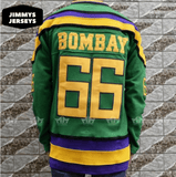 Gordon Bombay 66 Mighty Ducks Hockey Jersey Stitched Green