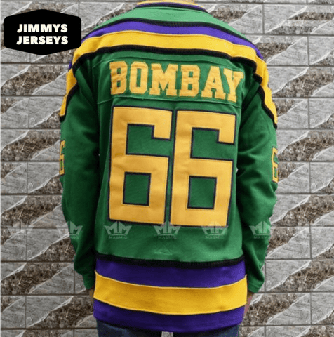 Gordon Bombay 66 Mighty Ducks Hockey Jersey Stitched Green - Jimmys Jerseys