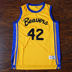 Scott Howard #42 Beavers Basketball Jersey Yellow - Teen Wolf - Jimmys Jerseys
