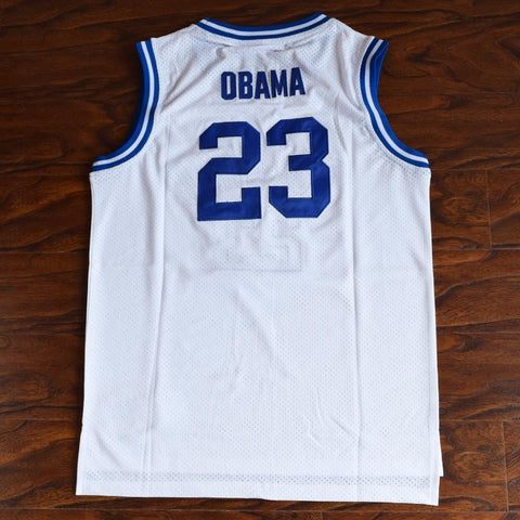 Barack Obama 23 Punahou High Basketball Jersey White - Jimmys Jerseys