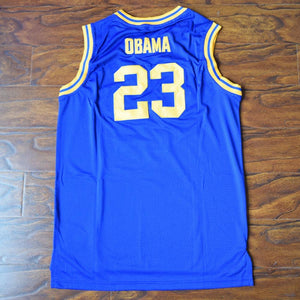 Barack Obama 23 Punahou High Basketball Jersey Blue - Jimmys Jerseys