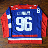 Charlie Conway 96 Team USA Hockey Jersey Mighty Ducks Blue