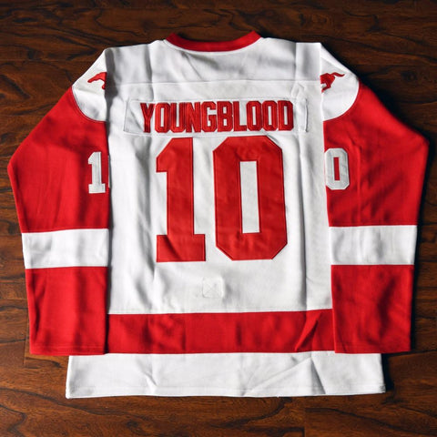 Youngblood 10 Mustangs Rob Lowe Ice Hockey Jersey Stitched White - Jimmys Jerseys