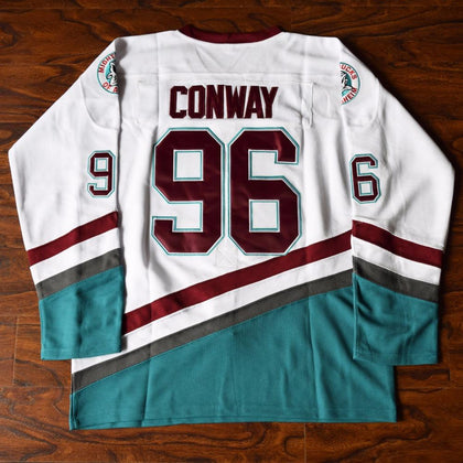 Charlie Conway 96 Mighty Ducks Ice Hockey Jersey White - Jimmys Jerseys