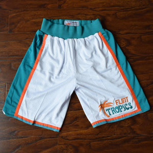 Flint Tropics Basketball Shorts Stitched White - Jimmys Jerseys