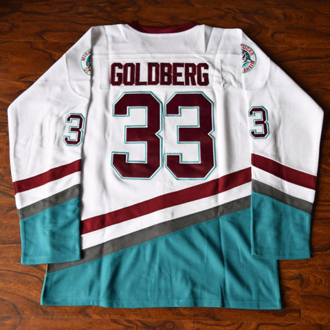 Greg Goldberg 33 Mighty Ducks Ice Hockey Jersey White - Jimmys Jerseys