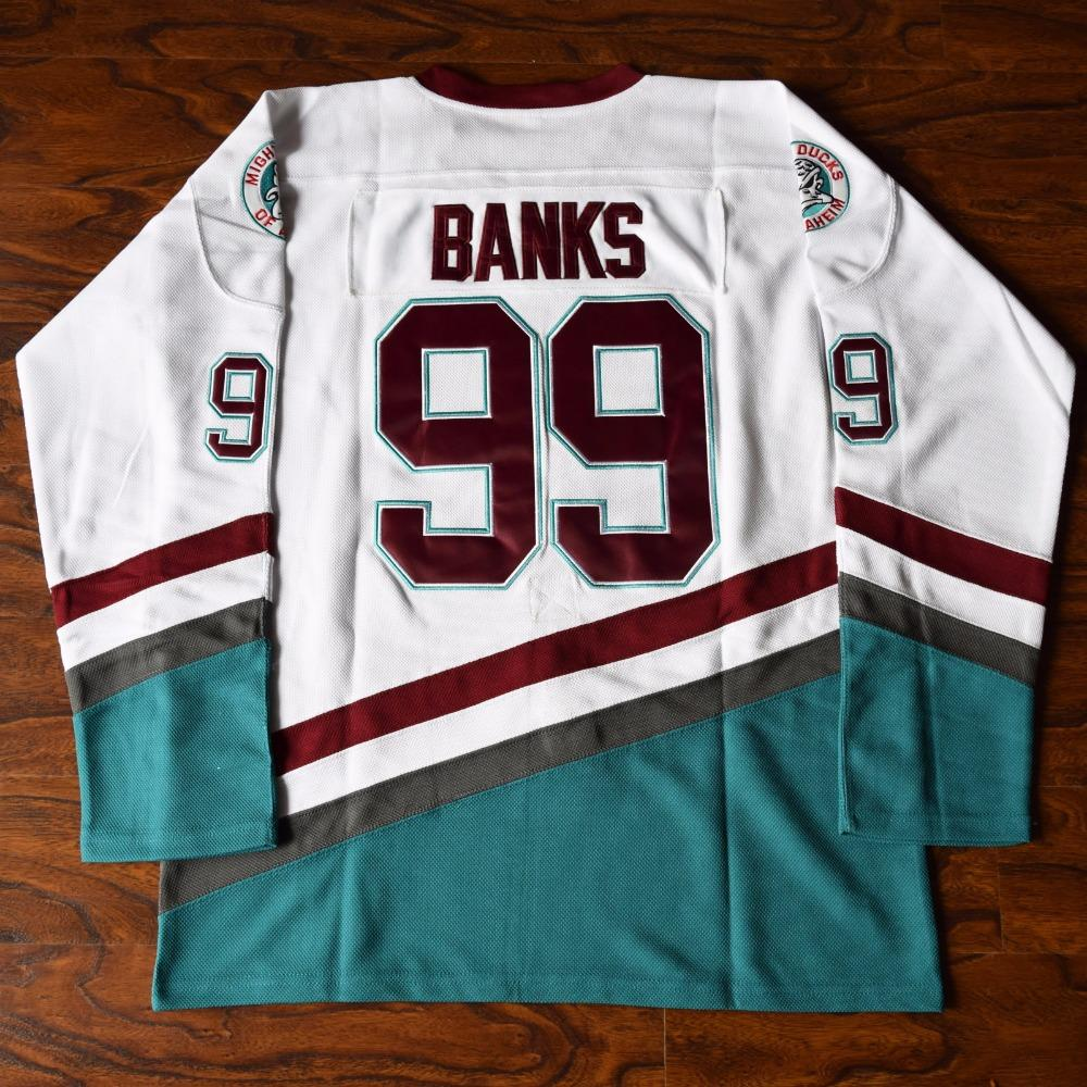 Adam Banks 99 Mighty Ducks Ice Hockey Jersey White - Jimmys Jerseys