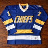 Steve Hanson 17 Slap Shot Charlestown Chiefs Hockey Jersey Blue