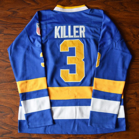 Dave 'Killer' Carlson #3 Slap Shot Charlestown Cheifs Hockey Jersey Blue - Jimmys Jerseys