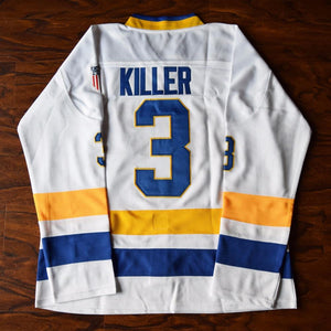 Dave 'Killer' Carlson #3 Slap Shot Charlestown Chiefs Hockey Jersey White - Jimmys Jerseys