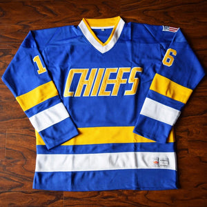 Jack Hanson 16 Slap Shot Charlestown Cheifs Hockey Jersey Blue - Jimmys Jerseys