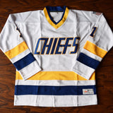 Denis Lemieux 1 Slap Shot Charlestown Cheifs Hockey Jersey White - Jimmys Jerseys