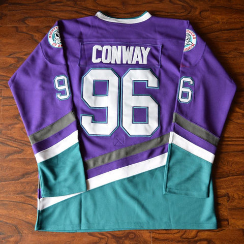Charlie Conway 96 Mighty Ducks Ice Hockey Jersey Stitched Purple - Jimmys Jerseys