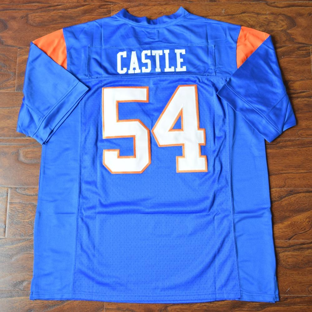 0de3fa99b19 Thad Castle  54 Blue Mountain State Football Jersey Stitched Blue - Jimmys  Jerseys
