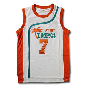 Coffee Black #7 Flint Tropics White Basketball Jersey - Jimmys Jerseys
