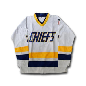 Dunlop #7 Chiefs White Hockey Jersey - Jimmys Jerseys