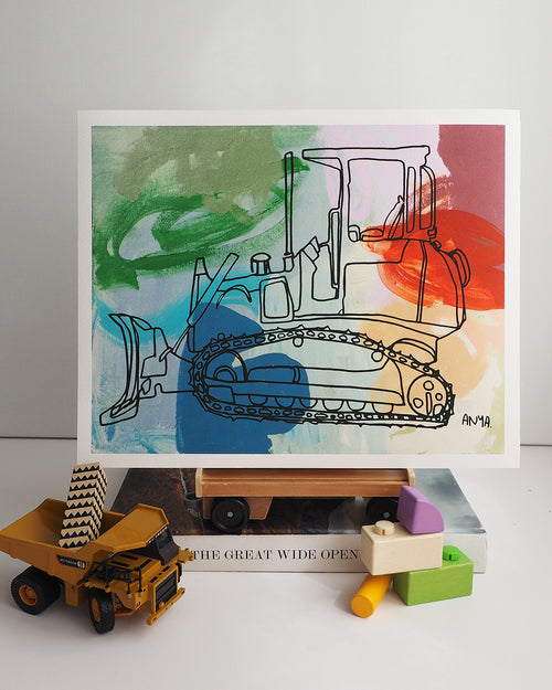 'Beau the Bulldozer' Paper PRINT