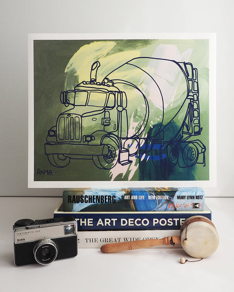 'Clemente the Cement Mixer' Paper PRINT