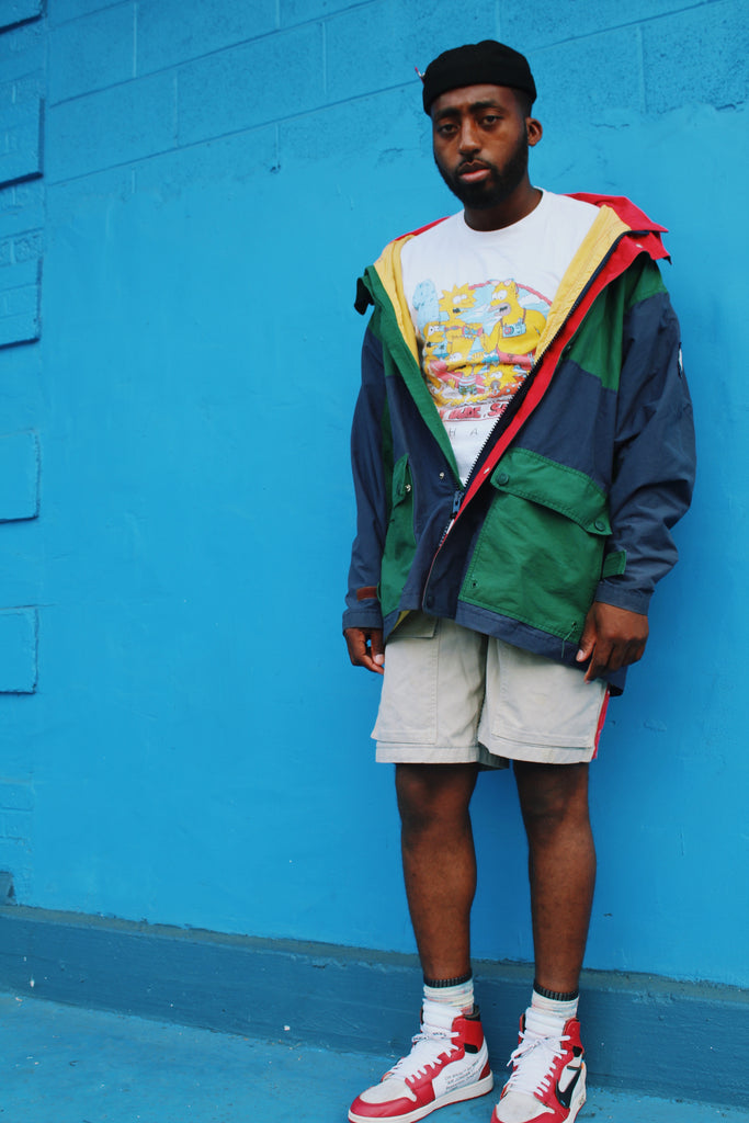 90's Tommy Hilfiger Color Block rain coat