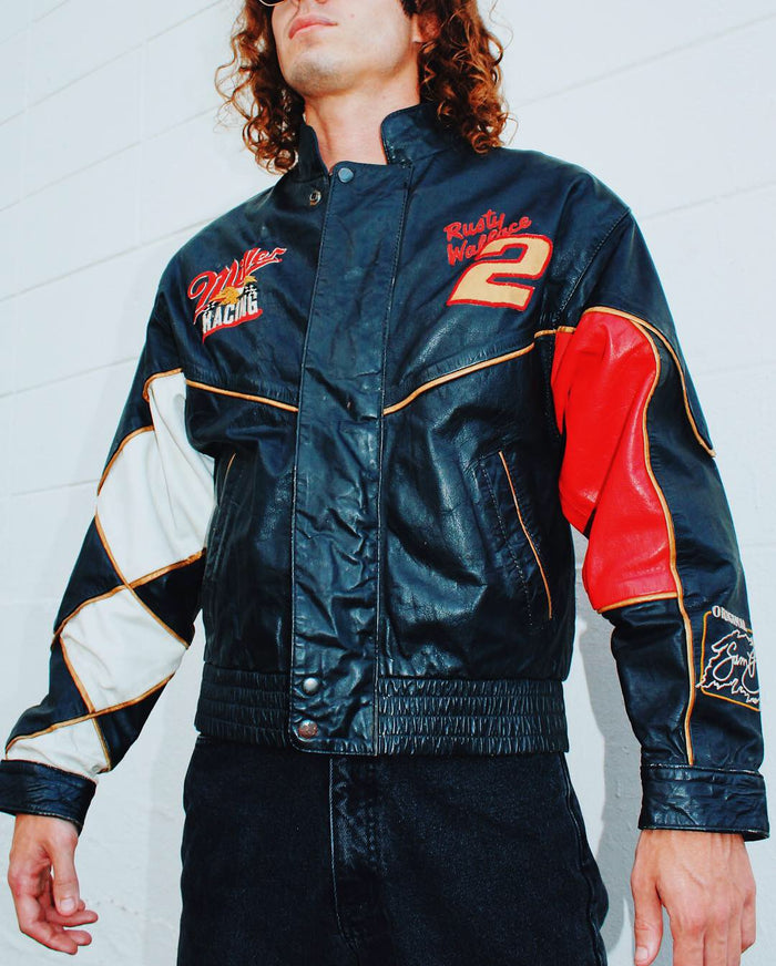 VINTAGE MILLER HIGHLIFE RACING LEATHER JACKET