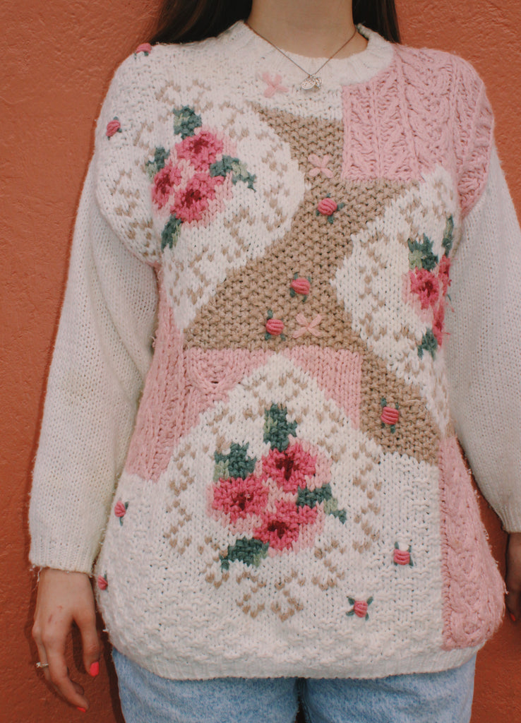 90s PINK ROSE SWEATER