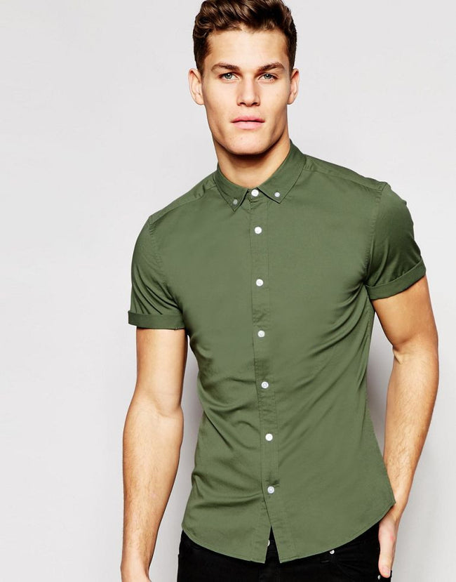 Skinny Shirt In Khaki Twill With Short Sleeves