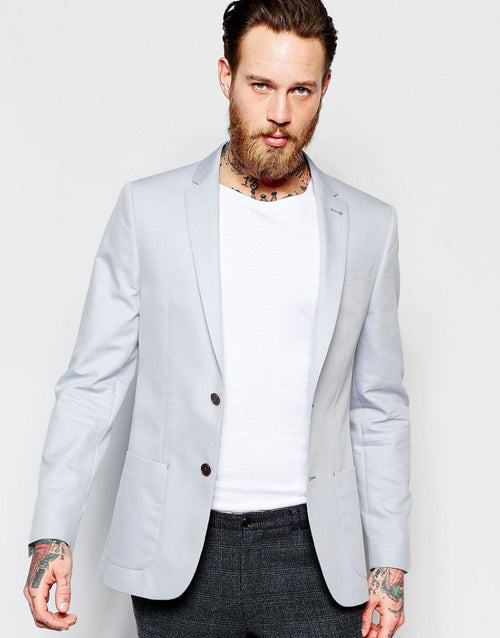River Island Skinny Fit Blazer In Light Blue