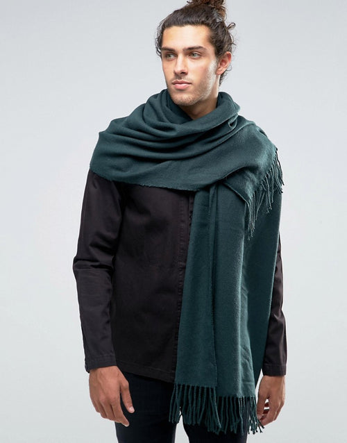 Woven Blanket Scarf In Green