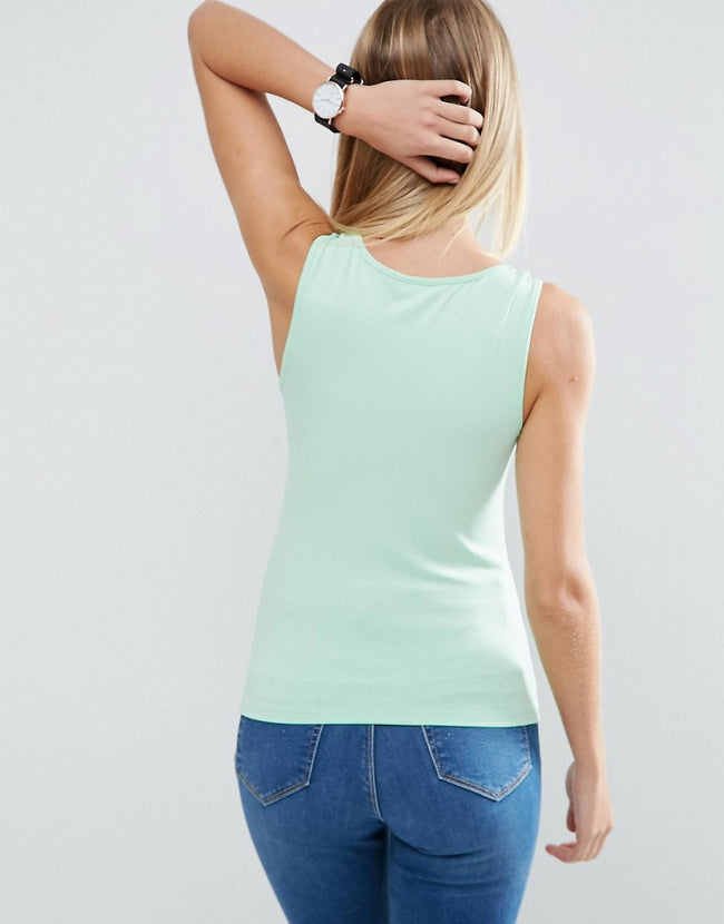 Tank with V-Neck and Panel Detail