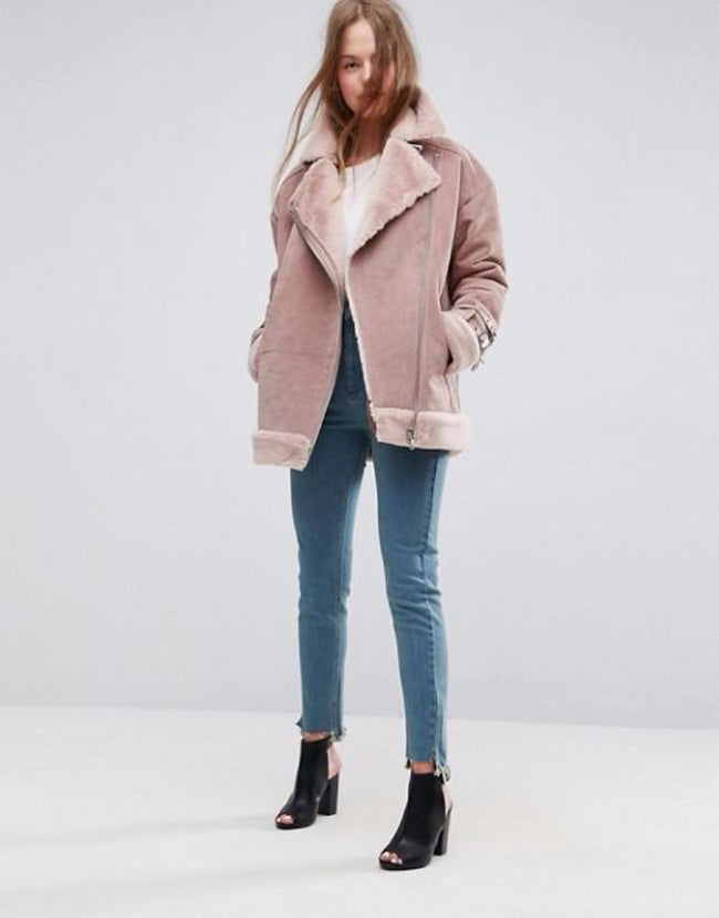 Aviator Jacket in Faux Suede