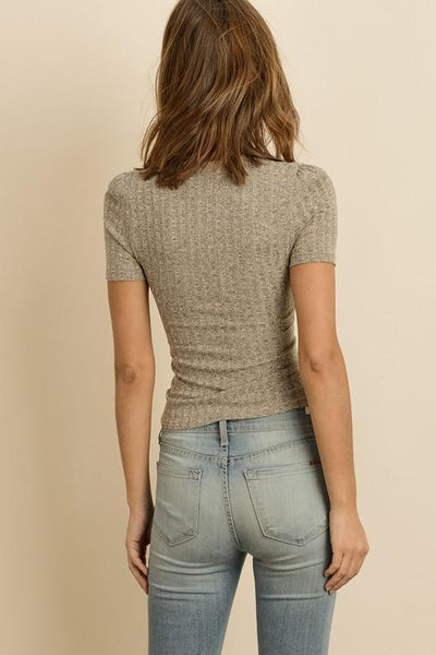 'gracie' ribbed knit tee - olive + pepper